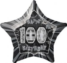 Black Glitz 'Happy 100th Birthday' Foil Balloon